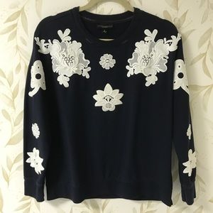 Victoria Beckham Navy & Lace Pullover